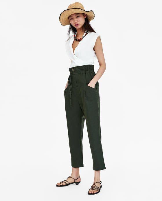 Pantalon Lino Cordon Zara Mujer Pantalones Pantalones De Lino Pantalones