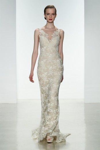 """Amsale Spring 2015 """"Nicole"""" gown. Slim, corded lace gown with silk chiffon underlay and sheer low back with lace appliqué. #lace #lowback"""