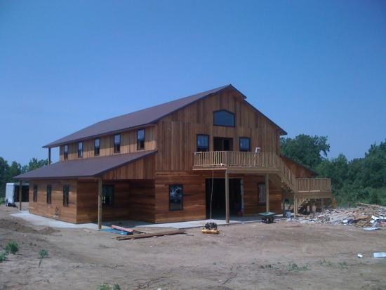 Barn builders pole barns and wood homes on pinterest Metal pole barn homes plans