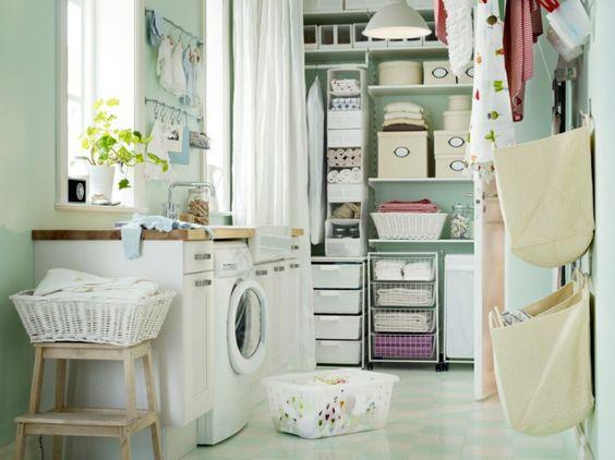 IKEA furniture shelves step stool wood laundry facility