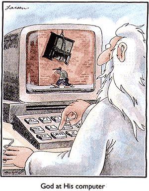 God at His computer