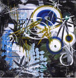 Gordon Onslow Ford (British, 1912-2003), sans titre.  Parles peinture sur papier sur toile, 94 x 91,5 cm.