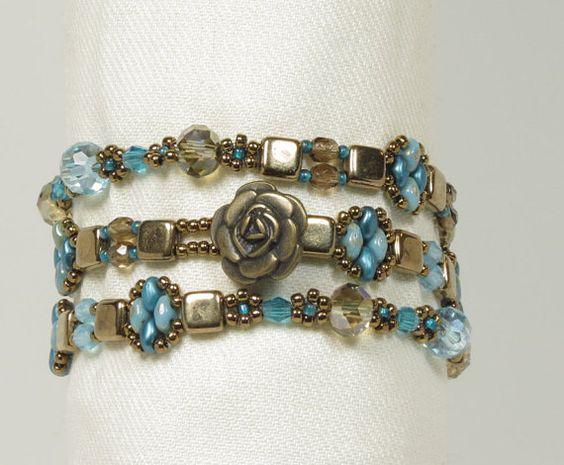 TRIPLE WRAP SUPERDUO Tile Bracelet-Bronze by CinfulBeadCreations