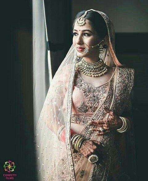 Her Nath And Mang Tikka Indian Wedding Dress Indian Bridal
