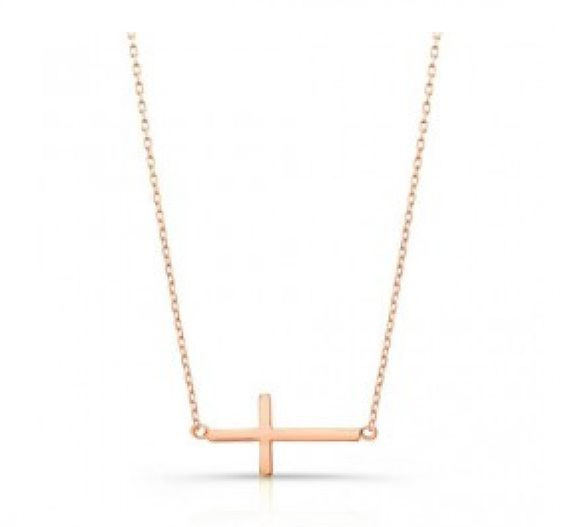 Rose Gold Side Cross. A great gift for your girls.