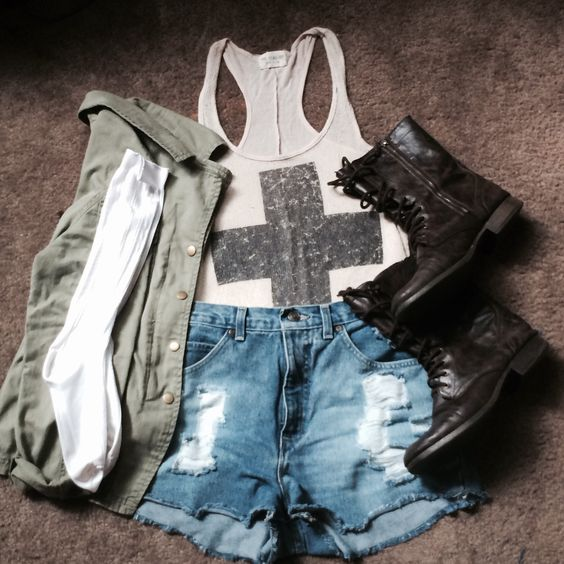 Vintage Army Brat. Soft Grunge: Indie High Waisted Shorts, Combat boots, Army Jacket