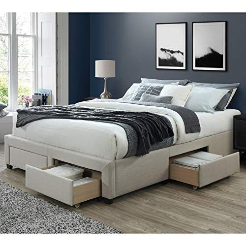 Dg Casa Cosmo Upholstered Platform Bed Frame Base With Storage