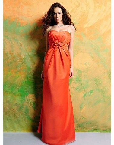 2012 Spring Style Sheath / Column Strapless Bowknot Sleeveless Floor-length Satin Bridesmaid Dresses / Cocktail Dresses / Homecoming Dresses (SZ019666 )