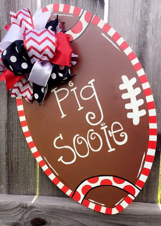 Arkansas Razorback Door Hanger by PolkaDottedDachshund on Etsy