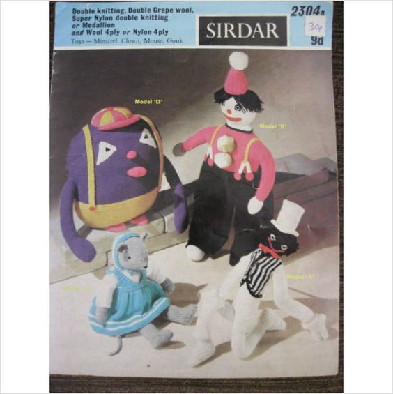 Sirdar Knitting Patterns Toys : Sirdar knitting pattern 2304 knitted toys in 4 ply gonk ...