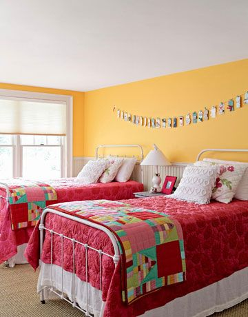 great guest room - love the colors, textures, iron beds, beadboard, quilts...all of it!
