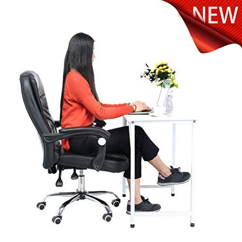 Gecau Ergonomic Office Recliner Chair High Back Desk Chair Racing Style With Lumbar Support Height Adjustable Leather Chair Office Chair Black Office Chair