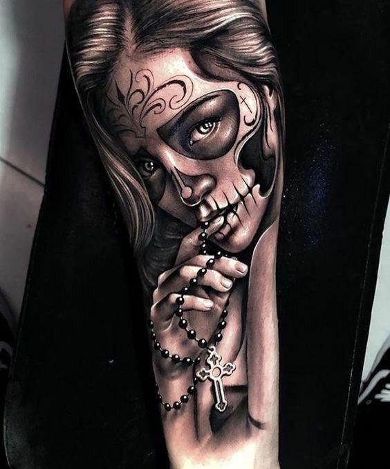 Pin By Raquel Martinez On Chicano Skull Girl Tattoo Trendy Tattoos Sleeve Tattoos