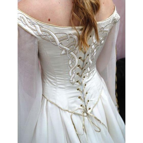 Celtic Wedding Dresses   Home > Bridal > White Celtic Medieval Inspired Wedding Dress