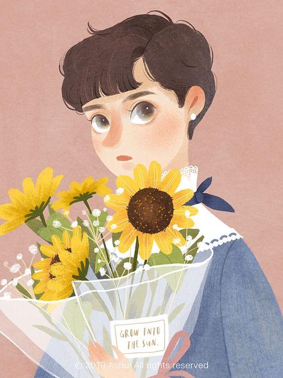 Blossom: mulheres e flores pelo traço poético e delicado da ilustradora Ashui