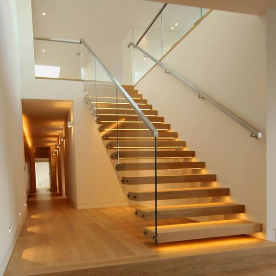 Suspended Style 32 Floating Staircase Ideas For The: Both Stringers Rubber Wood Tread Straight Staircase With