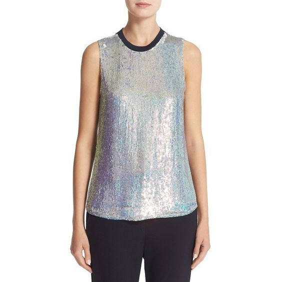 Women's 3.1 Phillip Lim Sequin Embellished Silk Top ($595) ❤ liked on Polyvore featuring tops, iridescent, silk sleeveless top, 3.1 phillip lim, sequin top, sleeveless tops and 3.1 phillip lim top