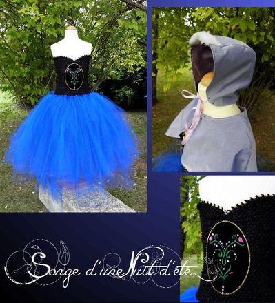 robe tutu en tulle princesse anna frozen la reine des neiges avec sa cape