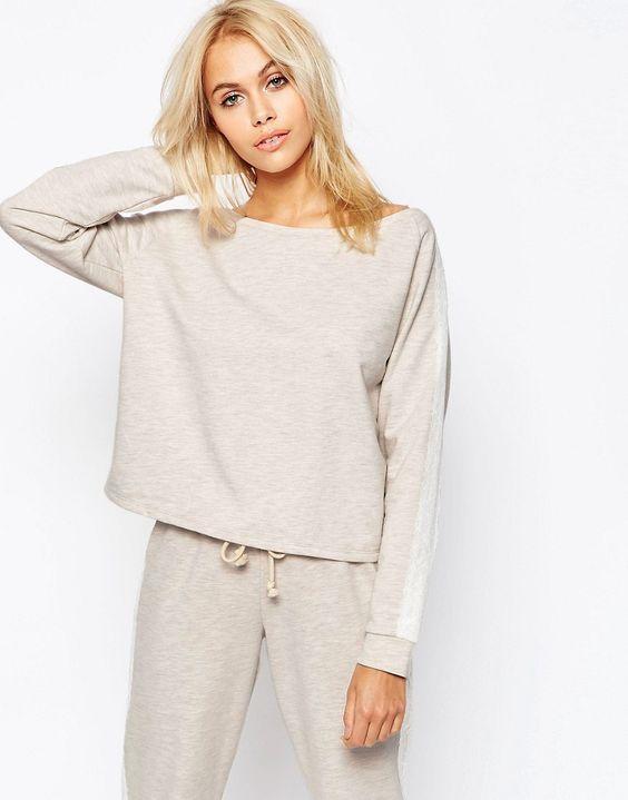 Image 1 - ASOS LOUNGE - Oatmeal - Sweat à épaules dénudées en jersey chiné