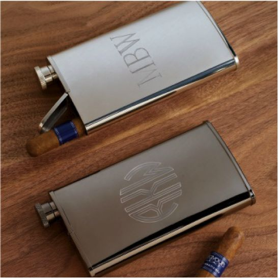 {Bridal Party Gifts} Part II: Groomsmen - Stainless Steel Flask and Cigar Holder