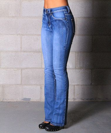 Look at this #zulilyfind! Light Wash Denim Heidi Stretch High-Rise ...