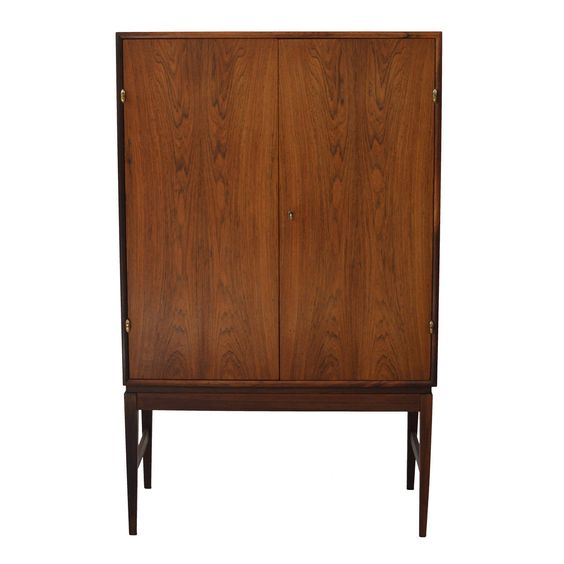 Refined Danish Rosewood Cocktail Cabinet with Brass Hinges | From a unique collection of antique and modern cabinets at https://www.1stdibs.com/furniture/storage-case-pieces/cabinets/