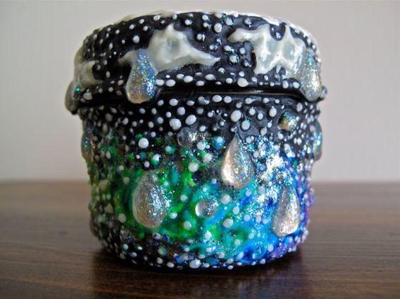 Rain & Stars Small Glass Stash Jar: Puffy Paint by SeeStarsJars  ||  $45