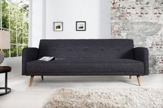 Design Schlafsofa SCANDINAVIA anthrazit mit hochwertigem Aufbau in 200cm