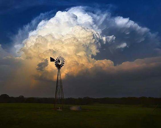 Sunset storm on the farm