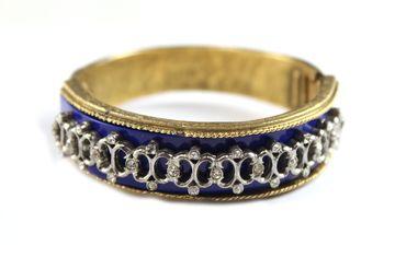 1950's Kramer blue bracelet with silver and diamante http://www.taigan.com/shops/houseoflavande/items/30387