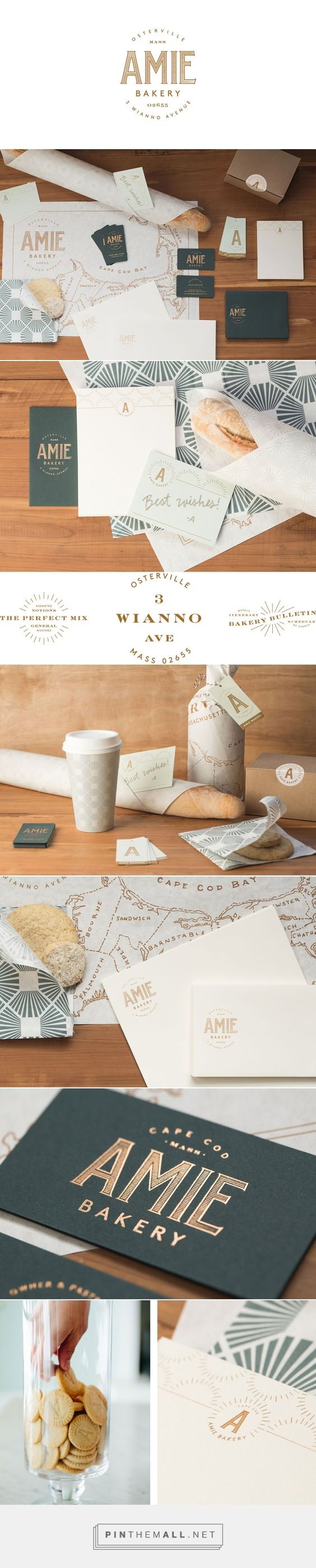 Amie Bakery on Behance by Peck & Co, Nashville, TN curated by Packaging Diva PD. Amie is a small, specialty bakery in downtown Cape Cod, that likes to think of itself as the town's kitchen. Branding, packaging, patter design.
