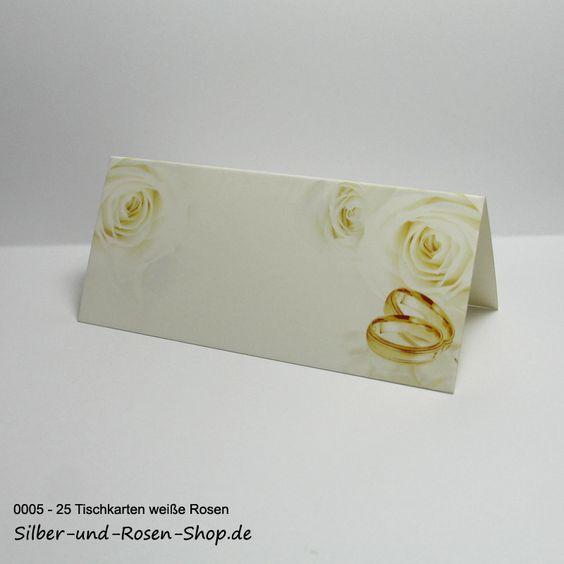 25 Platzkarten Hochzeit weiße Rosen