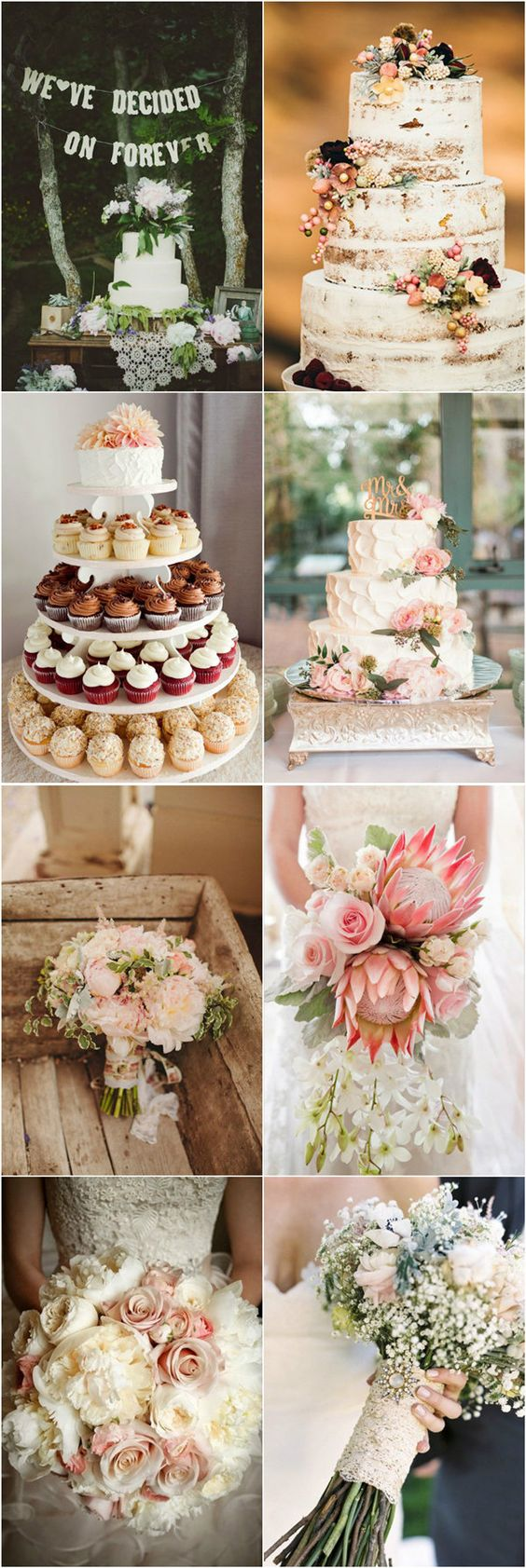 romantic vintage wedding cake and bouquets ideas