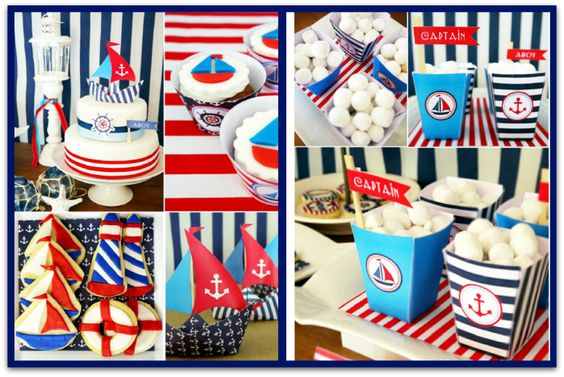 Preppy Nautical Theme Party - Bird's Party Designs    Collage by: C. Co