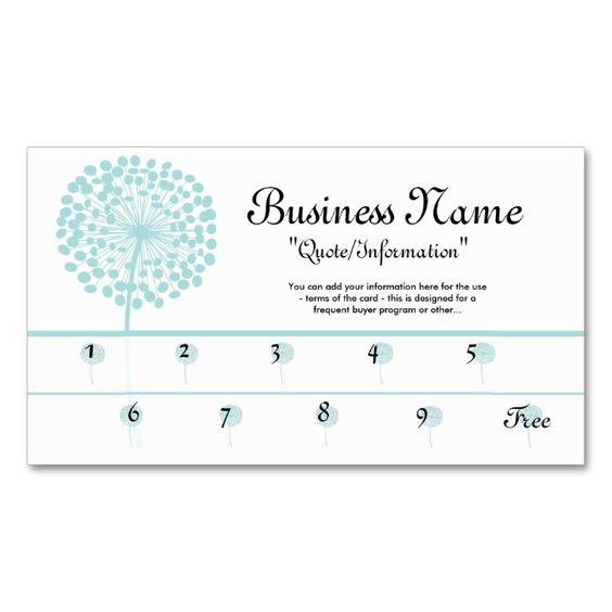 blue dandelion loyalty cards frequent buyer double sided standard business cards pack of 100. Black Bedroom Furniture Sets. Home Design Ideas