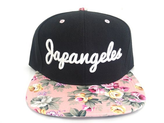 3D Embroidered Japangeles Signature Floral Snapback. Floral is also printed underneath bill.