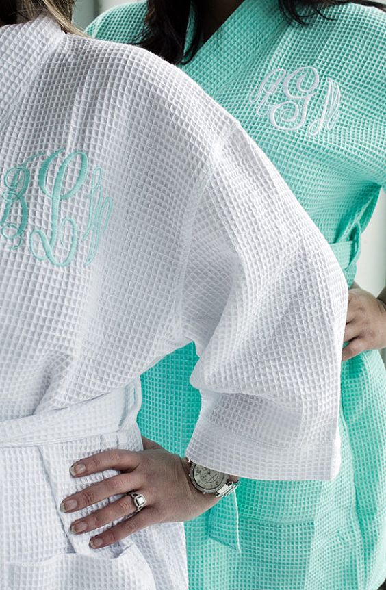 Are you planning a Mint Wedding? We have Monogrammed Mint Robes for your Bridesmaids Gifts! Personalized Mint Waffle Weave Kimono Spa Robe for Bridal