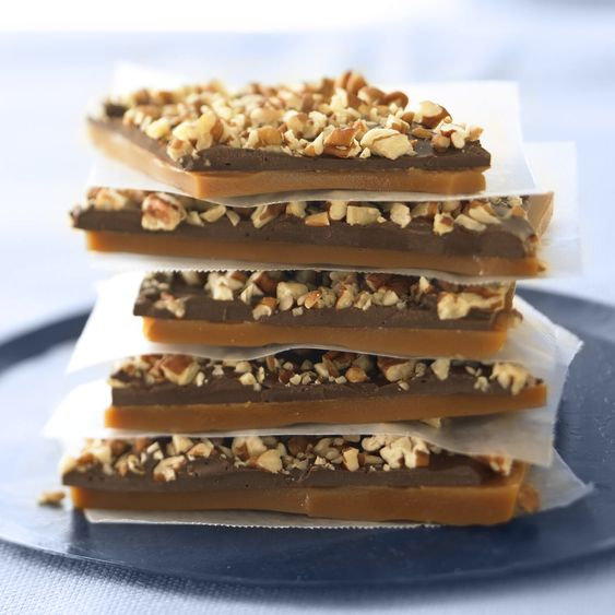Our Ghirardelli English Toffee layered with #qualitychocolate and crunchy toasted almonds atop buttery crisp toffee is incredibly easy. Honestly the hardest part about this recipe is just the waiting for it to cool so you can eat it.