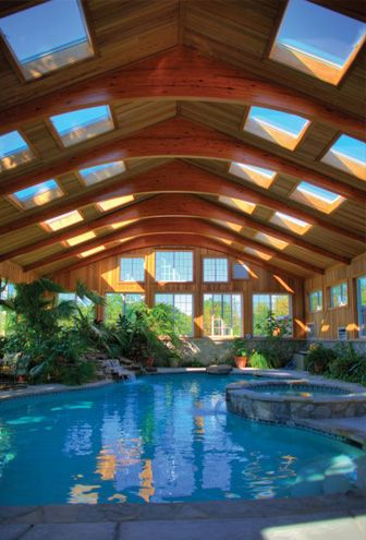 indoor pool with skylights