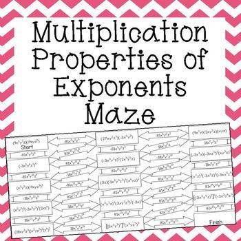 math worksheet : multiplication properties of exponents maze  multiplication  : Division Property Of Exponents Worksheet