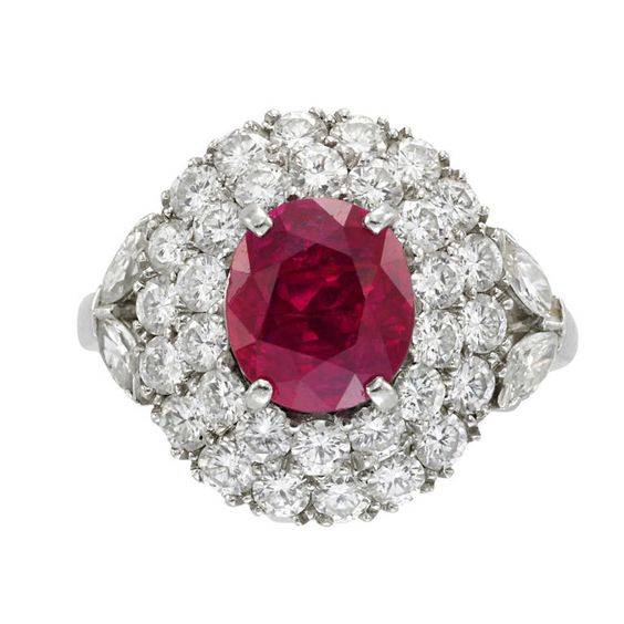 Natural Burma 2.50 Carat Ruby Diamond Platinum Cluster Ring | From a unique collection of vintage cocktail rings at https://www.1stdibs.com/jewelry/rings/cocktail-rings/