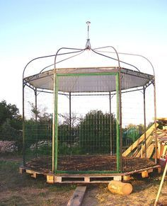 recycled old gazebo into chicken coop
