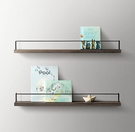 Minimalist Book Display Shelf Aged Acacia Warm Grey Aged Steel