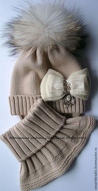 """Купить Зимний комплект из мериносовой шерсти """"Ретро-2"""" - бежевый, детские вязаные шапки:"""
