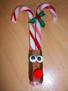 Candy cane reindeer party favor