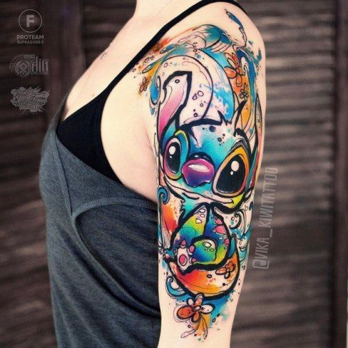 Watercolor Tattoos Watercolor Tattoo Sleeve Disney Sleeve Tattoos Disney Stitch Tattoo