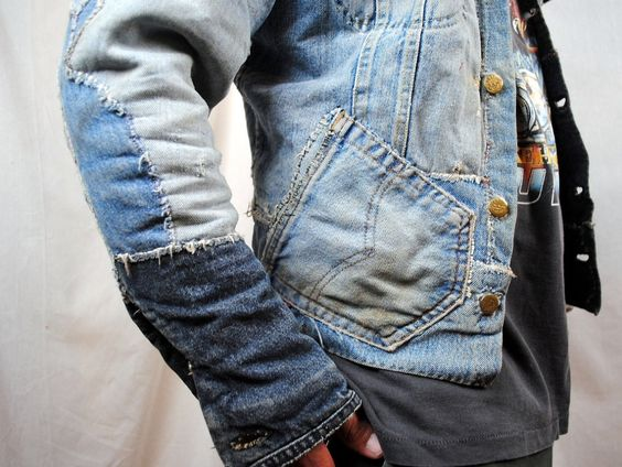 denim jacket made from a patchwork of old jeans | Gentlemen's Club ...