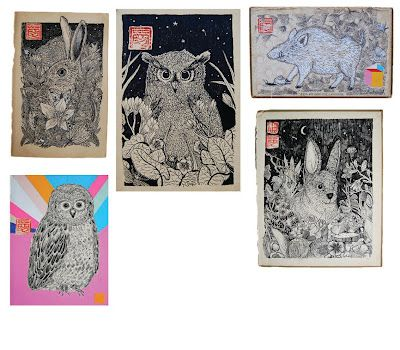 Animal drawings on old book pages, by Anja Mulder.