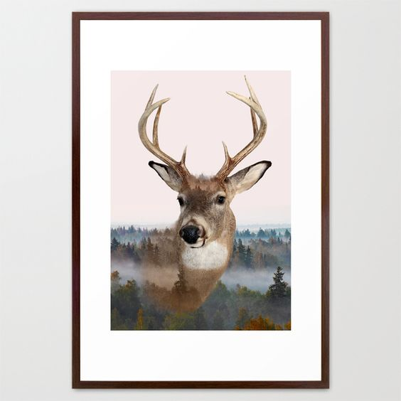 Whitetail Deer Double Exposure Framed Art Print