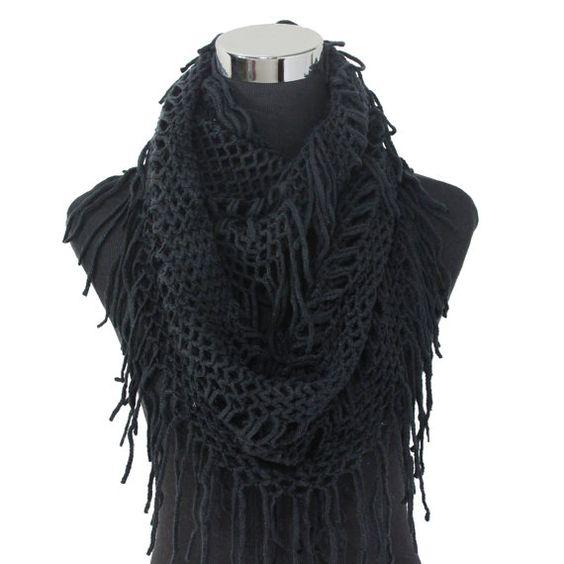 Women s Infinity Cowl Knit Crochet Fringe Net Style Scarf ...
